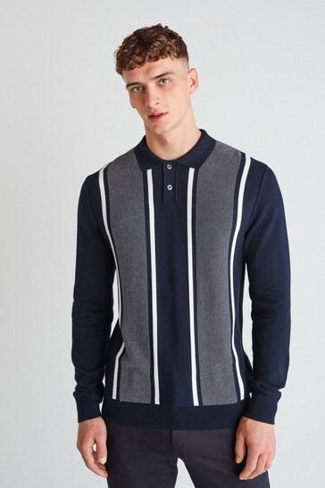 Navy/White Vertical Stripe Large Check Zip Premium Polo