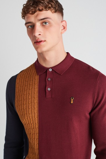 Burgundy Red Cable Large Check Zip Premium Polo