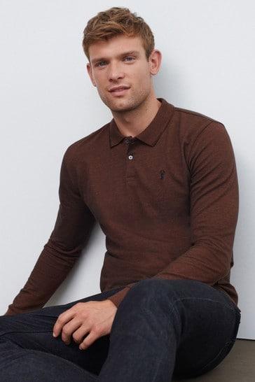 Rust Brown Oxford Long Sleeve Pique Polo Shirt