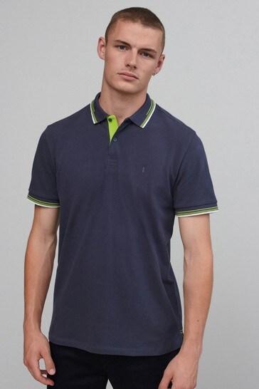 Slate Grey Fluro Tipped Regular Fit Polo Shirt