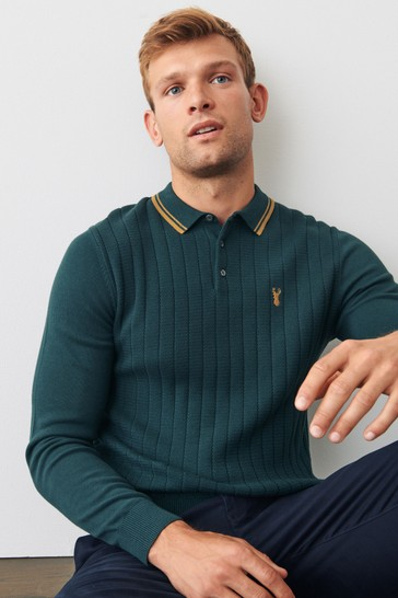 Green Textured Knitted Polo