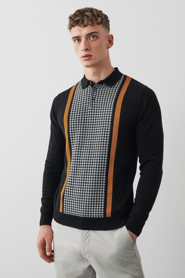 Black Dogstooth Large Check Zip Premium Polo