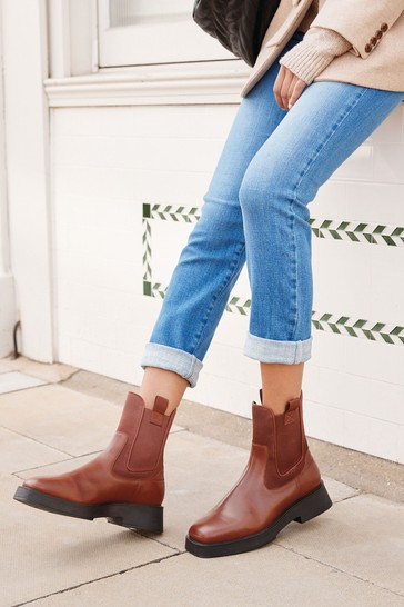 Tan Regular/Wide Fit Leather Square Toe Chelsea Boots