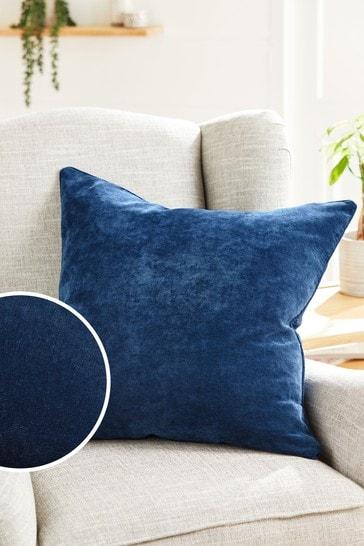 Navy Soft Velour Large Square Cushion