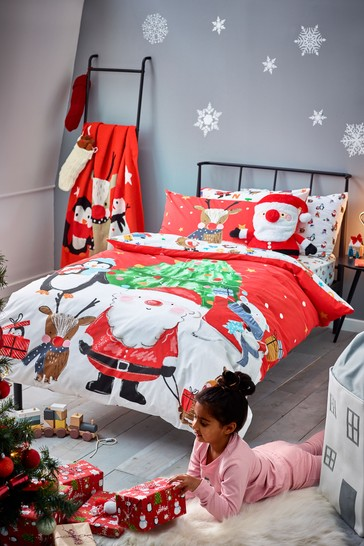 Red Christmas Santa And Friends 100% Cotton Duvet Cover and Pillowcase Set