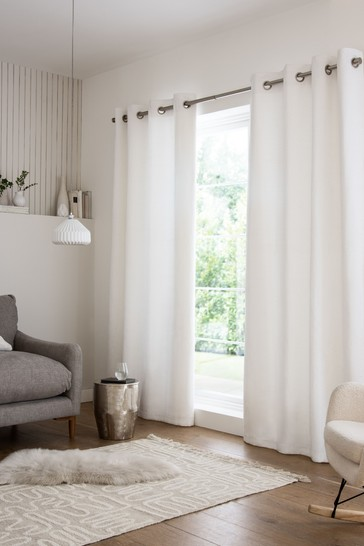 White Heavyweight Chenille Eyelet Lined Curtains