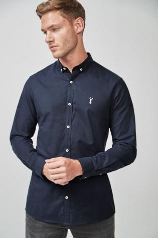 Navy Blue Slim Fit Long Sleeve Stretch Oxford Shirt