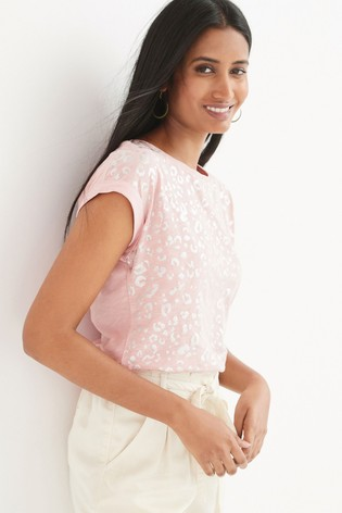 Pink All Over Animal Print Short Sleeve T-Shirt