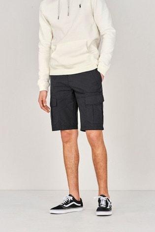 Black Shower Resistant Lightweight Cargo Shorts