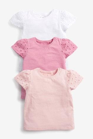 Pink 3 Pack Cotton T-Shirts (3mths-7yrs)