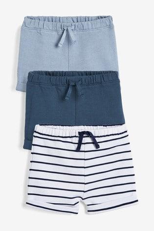 Blue 3 Pack Shorts (0mths-3yrs)