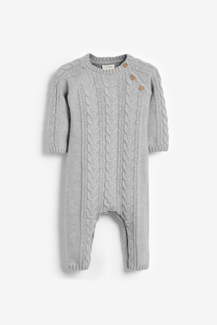 Grey Marl Cable Knitted Romper (0mths-2yrs)