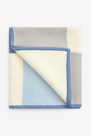 Blue Knitted Patch Blanket (Newborn)