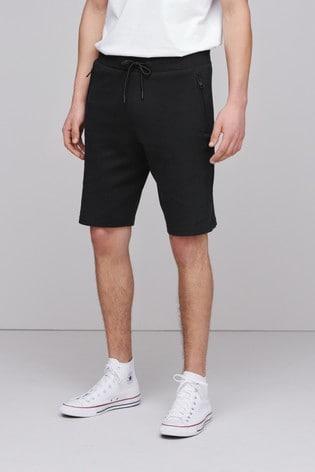 Black Straight Fit Zip Pocket Jersey Shorts