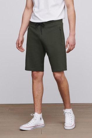 Khaki Green Straight Fit Zip Pocket Jersey Shorts