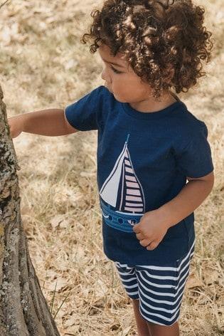 Blue Boat Appliqué T-Shirt And Shorts Set (3mths-7yrs)