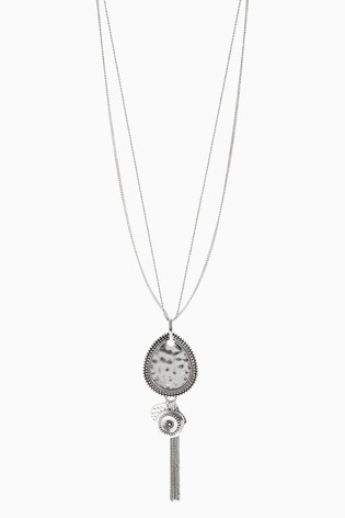 Silver Tone Burnished Long Cluster Pendant Necklace