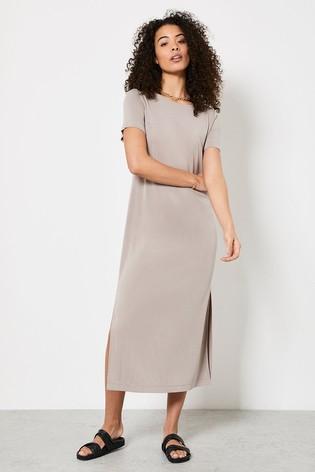 Mint Velvet Beige T-Shirt Midi Dress