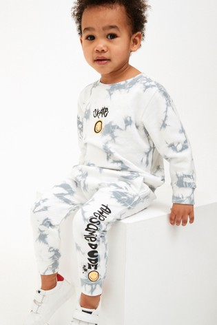 Grey/White Tie Dye Crew And Joggers Set (3mths-7yrs)