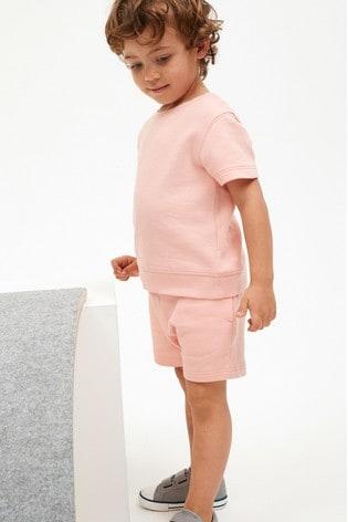 Blush Pink Plain Sweat T-Shirt And Shorts Set (3mths-7yrs)