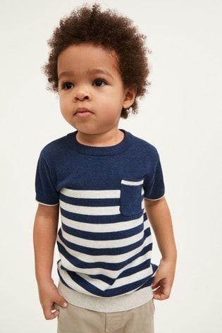 Navy Knitted Stripe T-Shirt (3mths-7yrs)
