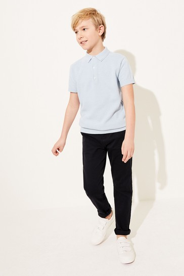 Blue Textured Knitted Polo Shirt (3-16yrs)