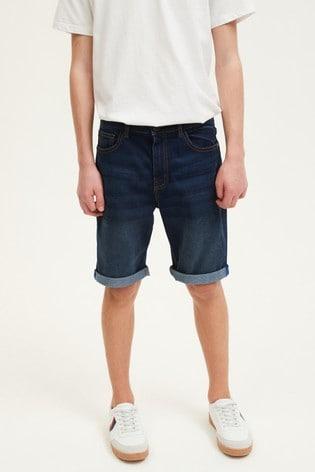 Dark Blue Loose Fit Denim Shorts (3mths-16yrs)