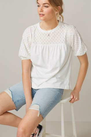 White Short Sleeve Broderie Top