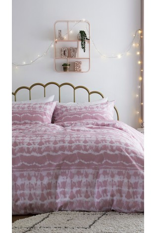 Pink Tie Dye Duvet Cover and Pillowcase Set