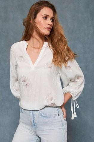 Mint Velvet White Floral Embroidered Top
