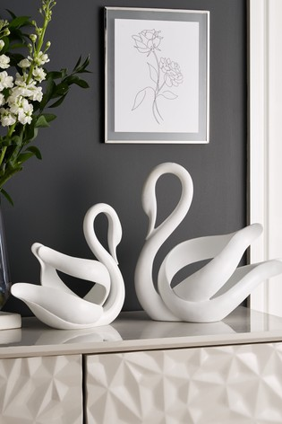 White Large Abstract Swan Sculpture
