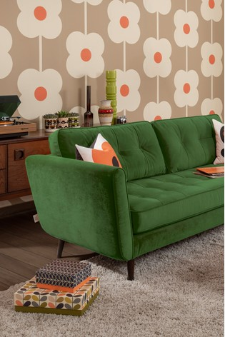 Orla Kiely Ivy Large Sofa with Walnut Feet