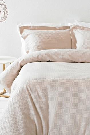 The Linen Yard Blush Waffle Duvet Cover And Pillowcase Set