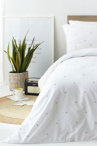 Riva Home White Strand Washed Cotton Duvet Cover and Pillowcase Set