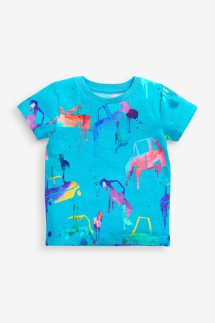 Blue Drippy Car All Over Printed T-Shirt (3mths-7yrs)