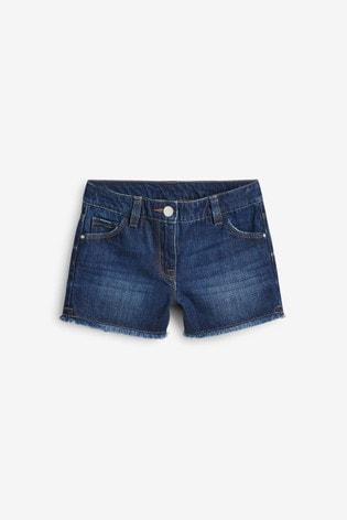 Dark Blue Regular Length Frayed Hem Denim Shorts (3-16yrs)