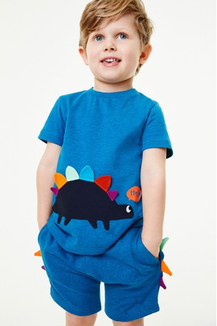 Teal Dino Appliqué T-Shirt And Shorts Set (3mths-7yrs)