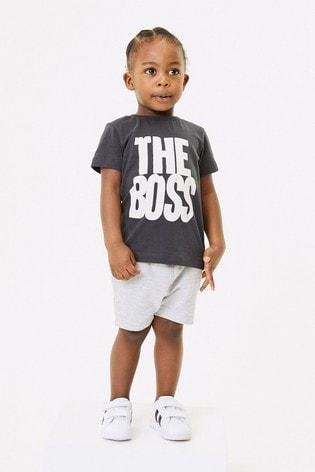 Grey Slogan Printed T-Shirt And Shorts Set (3mths-7yrs)
