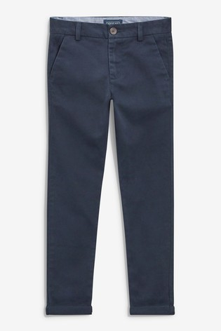 Navy Blue Slim Fit Stretch Chino Trousers (3-16yrs)
