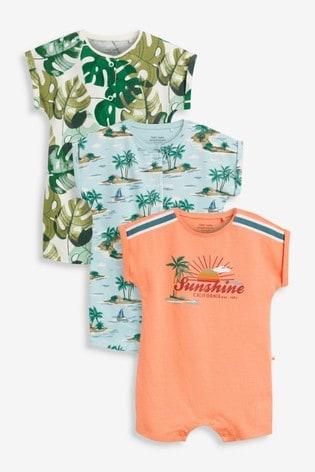 Orange Palm Tree 3 Pack Appliqué Rompers (0mths-3yrs)