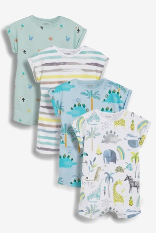 Safari Character 4 Pack Printed Rompers (0mths-3yrs)