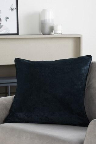 Black Soft Velour Large Square Cushion