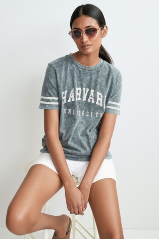 Charcoal Harvard Licence Short Sleeve Crew Neck T-Shirt