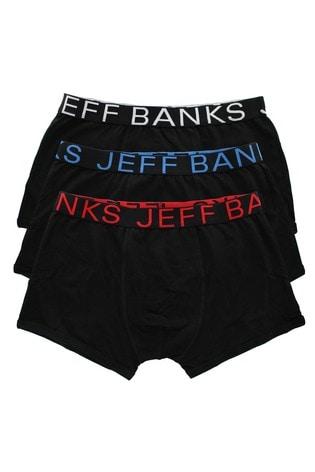 Jeff Banks Black Mens Pack Of 3 Trunks