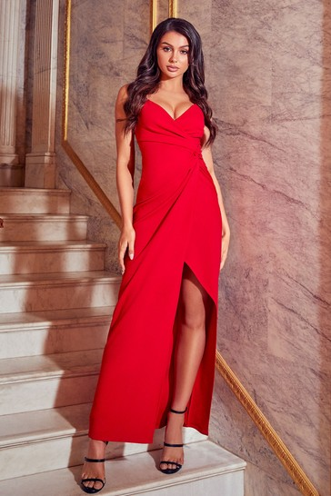 Sistaglam Red Petite Cami Knot Front Maxi Dress