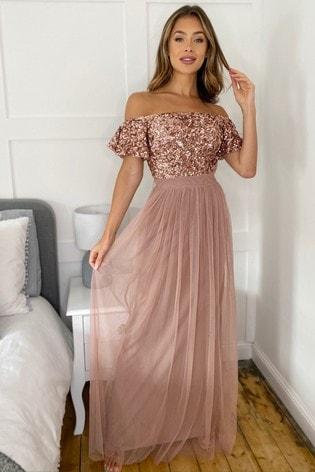 Sistaglam Rose Gold Sequin Bardot Maxi Dress