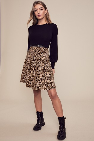 Lipsy Multi Animal 2 in 1 Knitted Fit and Flare Dress