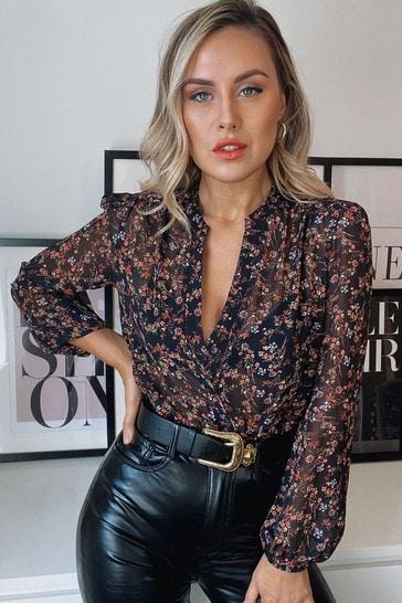 Lipsy Ditsy Floral Regular Grandad Collar Shirt