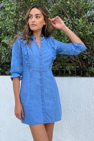 Lipsy Blue Ruffle Trim Shirt Dress