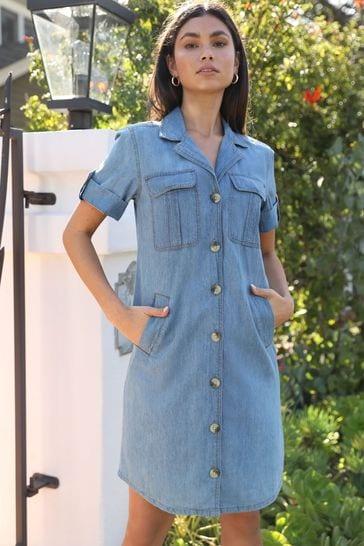 Lipsy Blue Utility Short Sleeve Shirt Dress